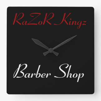 RaZoR Kingz Barber Shop Promotional Square Wall Clock