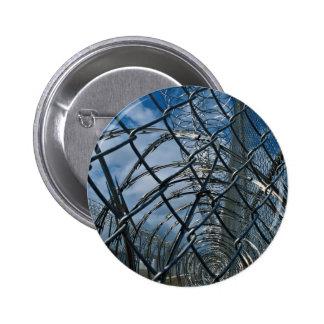 Razor wire, prison pinback button