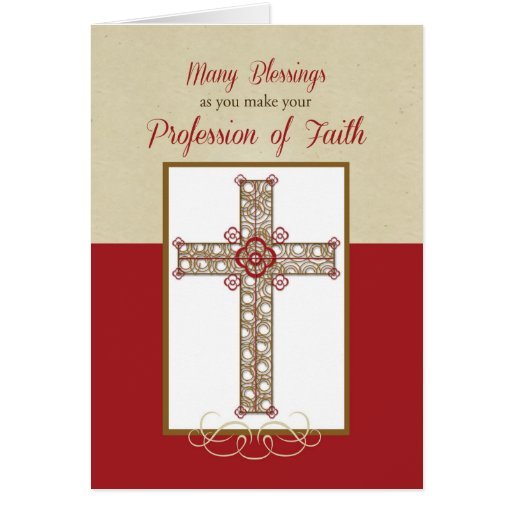 RCIA Blessings on Profession of Faith, Cross on Re Card