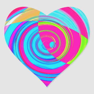 Re-Created Spiral Painting Heart Sticker