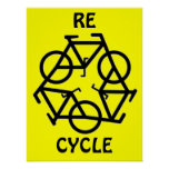 RE CYCLE Recycle Bicycle Symbol Posters