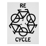 RE CYCLE Recycle Bicycle Symbol Print