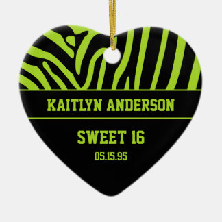 RE-DO Zebra Print and Lime Green Sweet 16 Keepsake Christmas Ornament