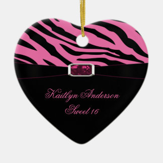 RE-DO Zebra Print and Pink Jewel Sweet 16 Keepsake Ceramic Heart Decoration