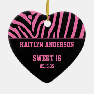 RE-DO Zebra Print and Pink Sweet 16 Keepsake Christmas Ornament