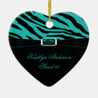 RE-DO Zebra Print and Teal Jewel Sweet 16 Keepsake Ceramic Heart Decoration