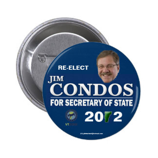 Re-Elect Condos Vermont Secretary of State 2012 po 6 Cm Round Badge
