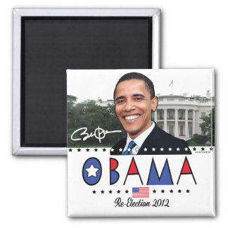 Re-Elect President Obama Election 2012 Gear Square Magnet