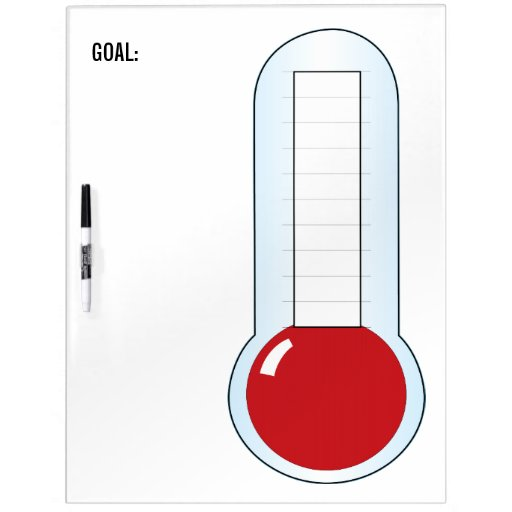 Re-useable Fundraising Thermometer Dry Erase Whiteboard
