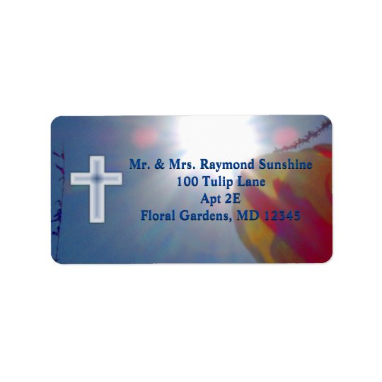 Reach for the Sky FIRST COMMUNION WITH CROSS Address Label
