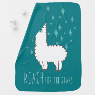 """Reach For The Stars"" Sweet Llama Illustration Baby Blanket"