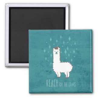 """Reach For The Stars"" Sweet Llama Illustration Magnet"