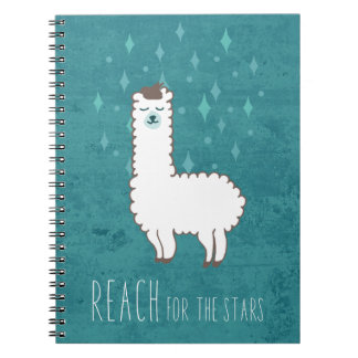 """""""Reach For The Stars"""" Sweet Llama Illustration Notebook"""