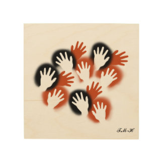 Reach out your hands wood print