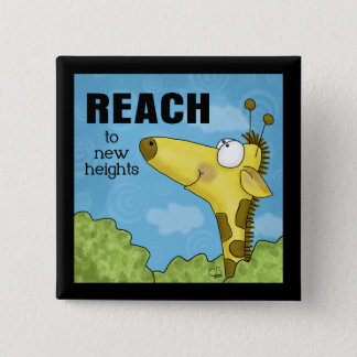 Reach to New Heights Giraffe 15 Cm Square Badge
