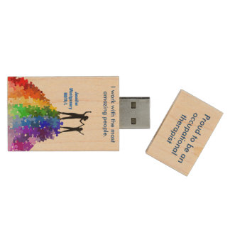 Reaching New Heights, Autism Support  Woman & Girl Wood USB 2.0 Flash Drive
