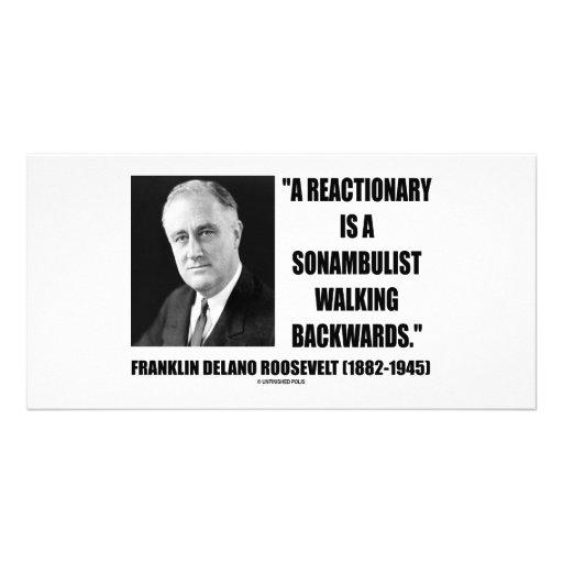 Reactionary Sonambulist Walking Backwards Custom Photo Card
