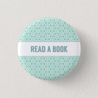 Read a book button, on aqua 3 cm round badge