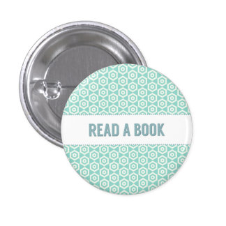 Read a book button, on aqua 3 cm round badge