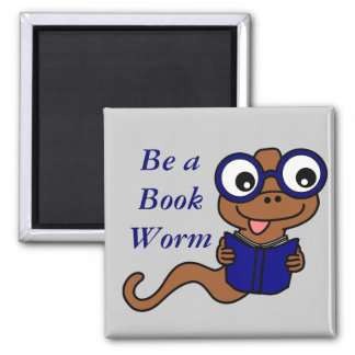 Read a Book Month: Be a Book Worm Square Magnet