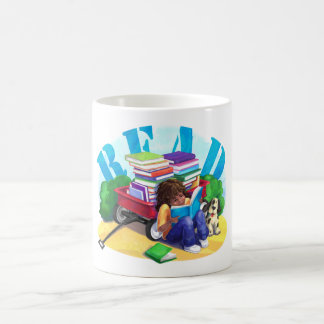 READ Book Wagon Art Basic White Mug