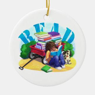READ Book Wagon Art Christmas Ornament
