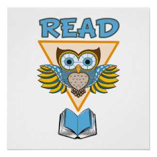 Read Books Blue Gold Owl Poster