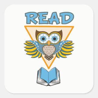 Read Books Blue Gold Owl Square Sticker