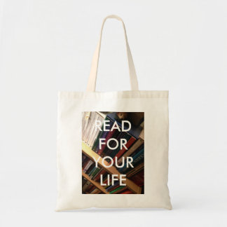 """""""Read for your life"""" tote"""