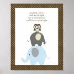 Read me a story owl elephant boy nursery art