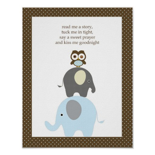 Read me a story owl elephant boy nursery art posters