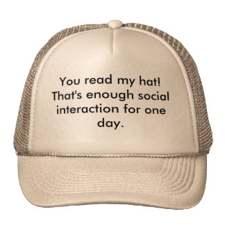 Read my hat! cap