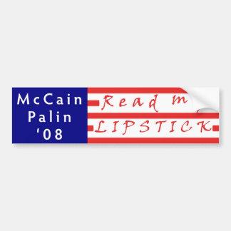 Read my LIPSTICK McCain Palin 08 Bumper Sticker