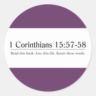 Read the Bible 1 Corinthians 15:57-58 Round Sticker
