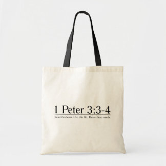 Read the Bible 1 Peter 3:3-4 Canvas Bags