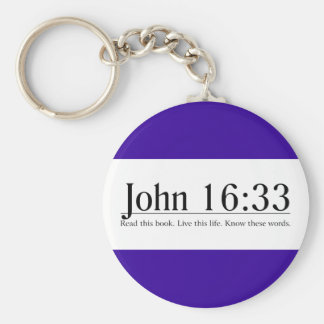 Read the Bible John 16:33 Basic Round Button Key Ring