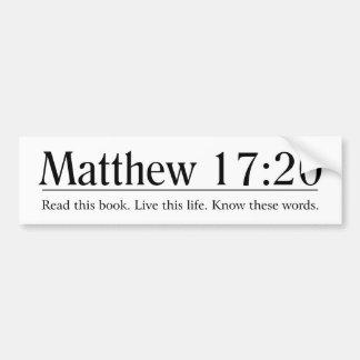 Read the Bible Matthew 17:20 Bumper Stickers