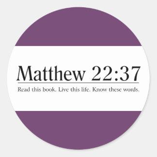 Read the Bible Matthew 22:37 Round Stickers