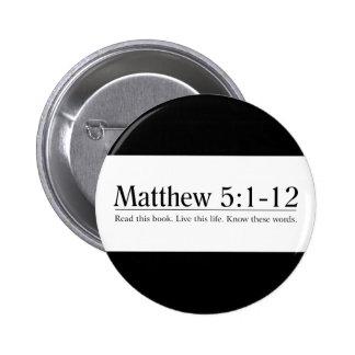 Read the Bible Matthew 5:1-12 6 Cm Round Badge