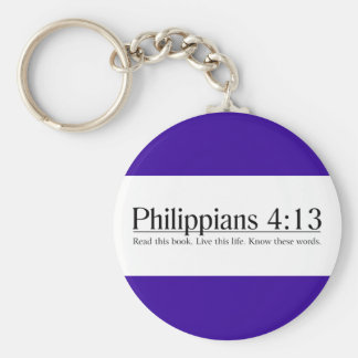 Read the Bible Philippians 4:13 Basic Round Button Key Ring