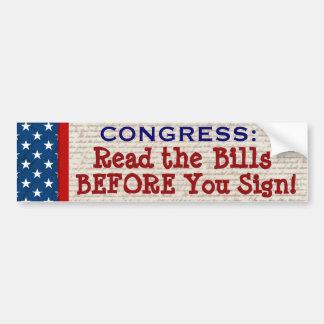 READ THE BILLS Funny Congressional Bumper Sticker