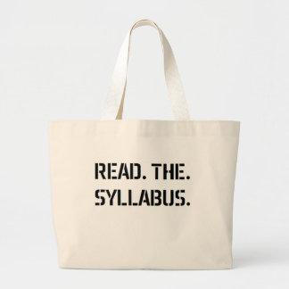 read the syllabus large tote bag