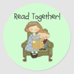Read Together Mum and Boy Tshirts and Gifts Round Stickers