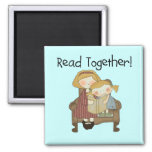 Read Together - Mum and Girl Tshirts and Gifts Magnet