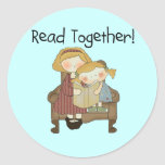 Read Together - Mum and Girl Tshirts and Gifts Round Stickers