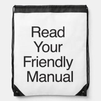 Read Your Friendly Manual Drawstring Bag