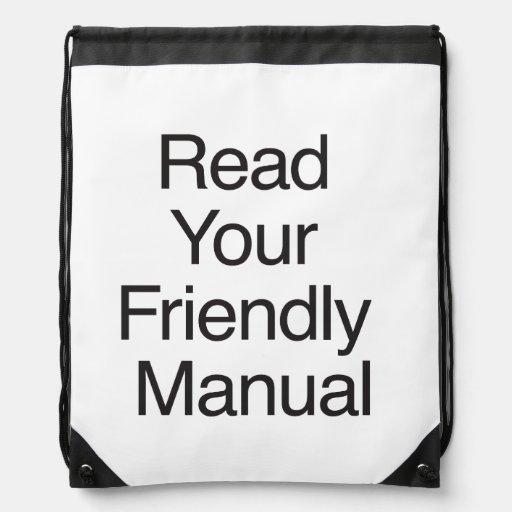 Read Your Friendly Manual Cinch Bag