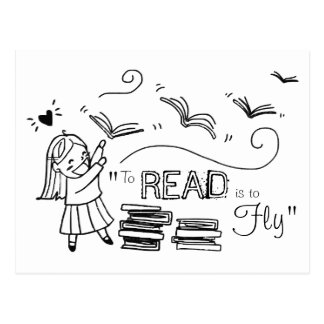 Reader Girl To Read is to Fly Postcard