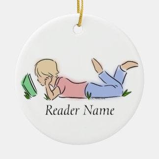 Reader in Grass (Custom Name) Round Ceramic Decoration