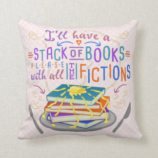 Readers Humor Stack of Books with Fictions Cute Throw Pillow